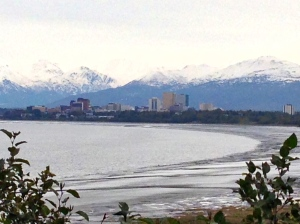 The Tony Knowles Coastal Trail during low tide.  Looking towards the east at Anchorage, AK from farther  down the trail.