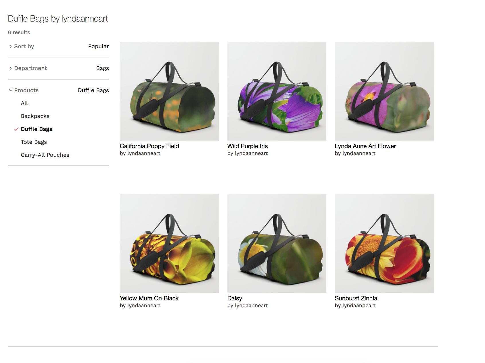 LA Duffle Bags Floral Designs